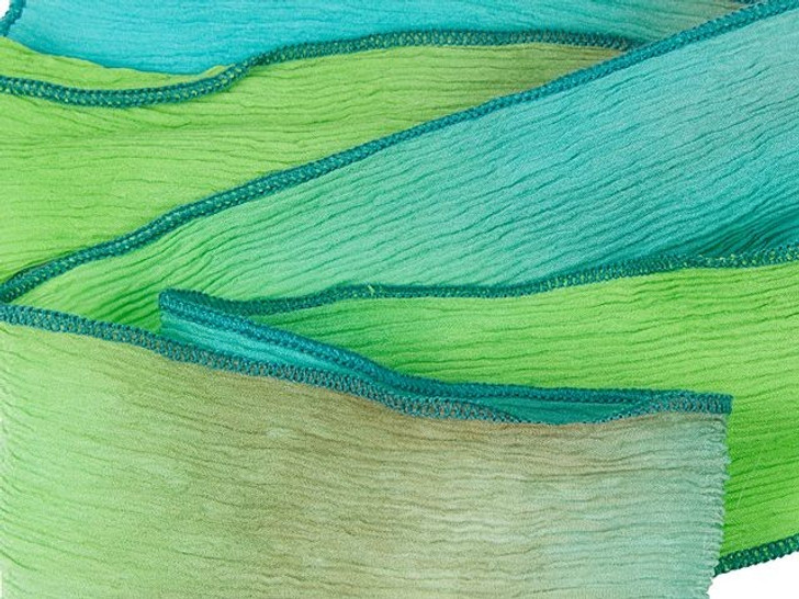 Hand-Dyed High Tide Turquoise, Lime and Light Mocha Super Silk Wrap with Dark Turquoise Edges