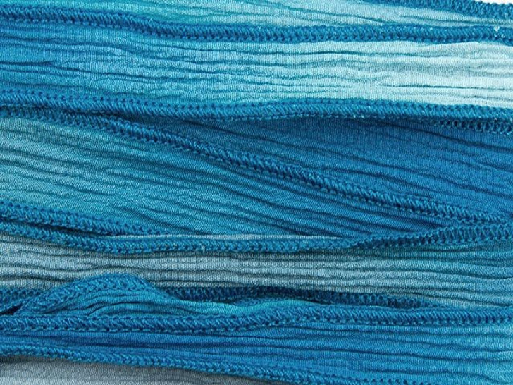 Hand-Dyed Lady Sings the Blues Dark and Light Blue Silk Ribbon with Dark Blue Edges