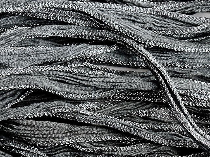 Hand-Dyed Silk Ribbon Ash Grey with Metallic Silver Edges (32-36 Inches)