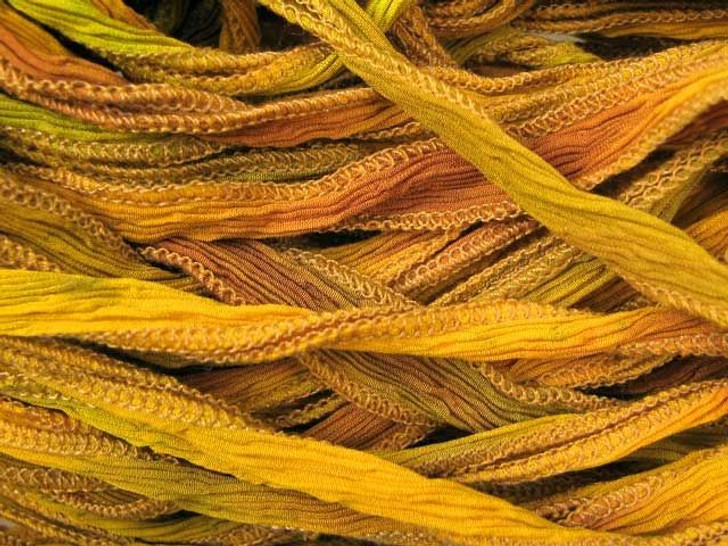 Hand-Dyed Silk Ribbon Autumn Leaves Blend (32-36 Inches)