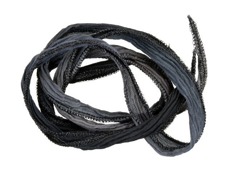 Hand-Dyed Silk Ribbon Black and Grey with Black Metallic Edges (32-36 Inches)