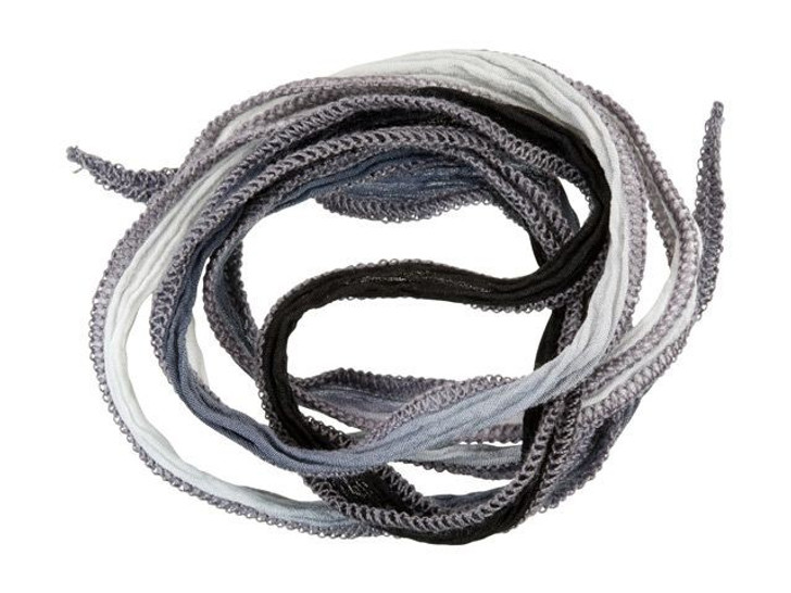 Hand-Dyed Silk Ribbon Black, Steel Gray and Dove Gray Blend (32-36 Inches)