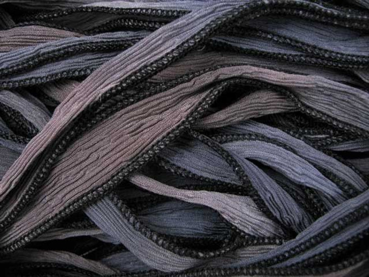 Hand-Dyed Silk Ribbon Blue/Grey Blend (32-36 Inches)