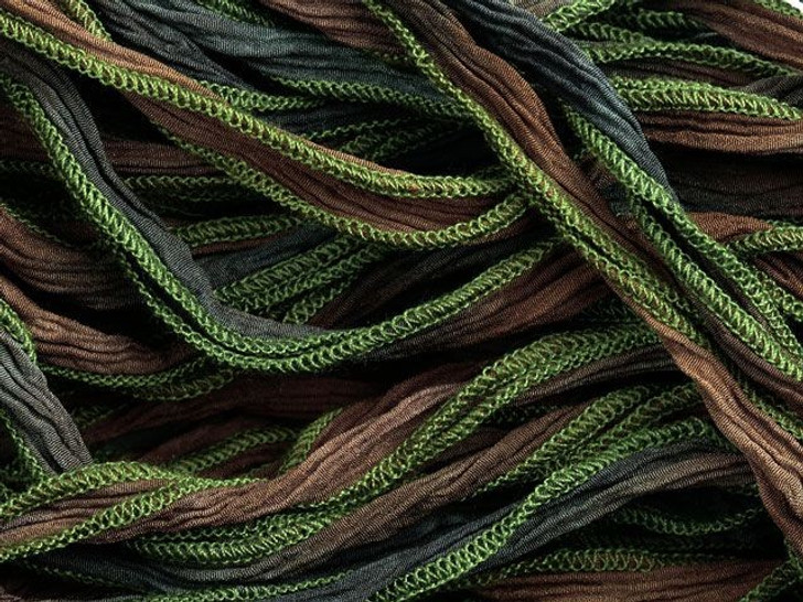Hand-Dyed Silk Ribbon Brown/Moss Green (32-36 Inches)