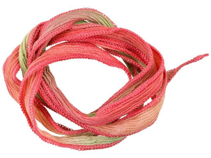 Hand-Dyed Silk Ribbon Coral, Khaki and Pink with Dark Coral Edges (32-36 Inches)