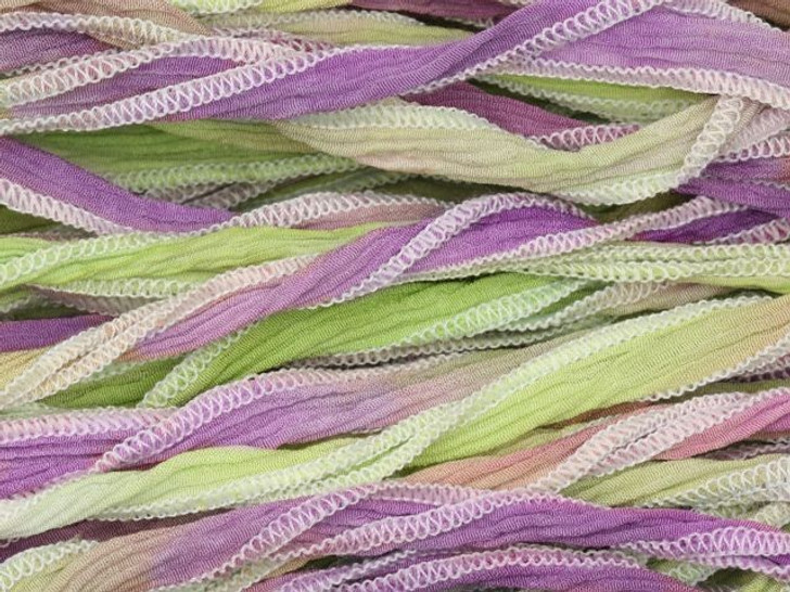 Hand-Dyed Silk Ribbon Lavender/Lime Blend (32-36 Inches)