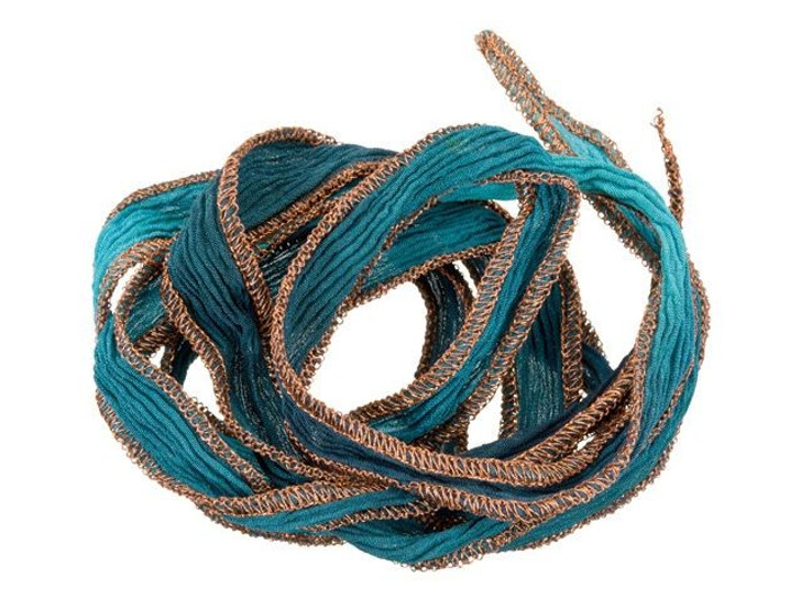 Hand-Dyed Silk Ribbon Midnight Blue and Light Blue with Copper Metallic Edges (32-36 Inches)