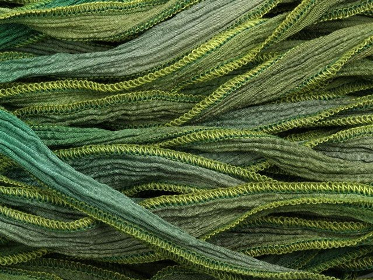 Hand-Dyed Silk Ribbon Multi Greens (32-36 Inches)