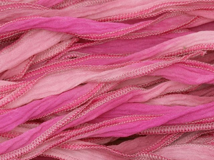 Hand-Dyed Silk Ribbon Multi Pinks (32-36 Inches)