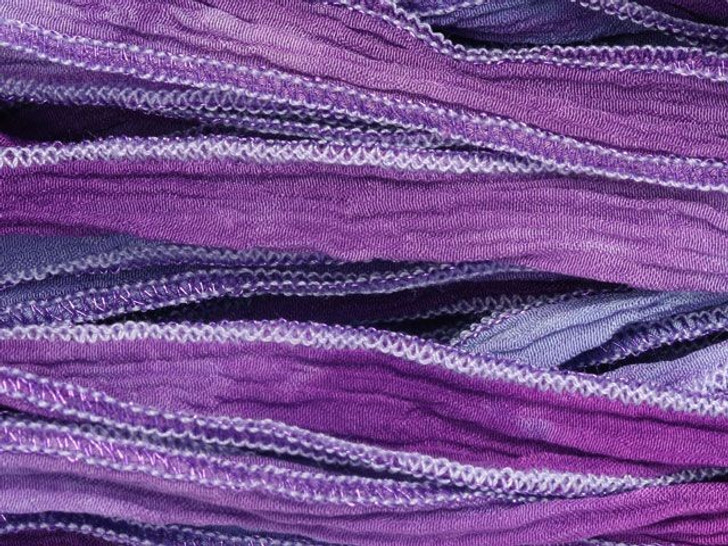 Hand-Dyed Silk Ribbon Multi Purples with Metallic Purple Edges (32-36 Inches)