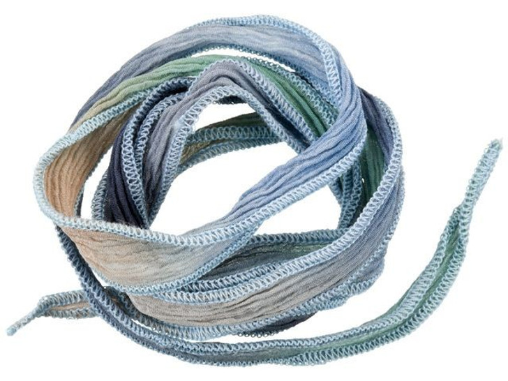 Hand-Dyed Silk Ribbon Pastels and Grey with Blue Edges (32-36 Inches)