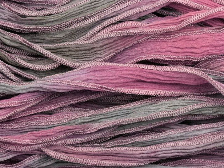 Hand-Dyed Silk Ribbon Pink/Gray with Metallic Pink Edges (32-36 Inches)