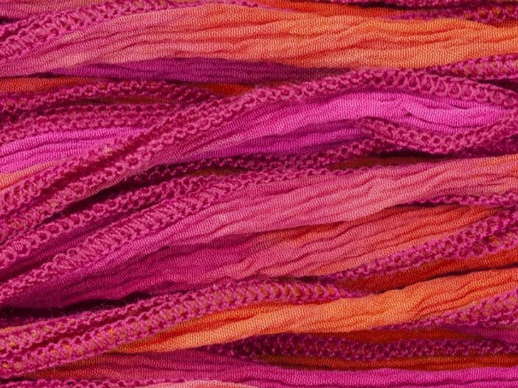 Hand-Dyed Silk Ribbon Pink/Orange Blend (32-36 Inches)