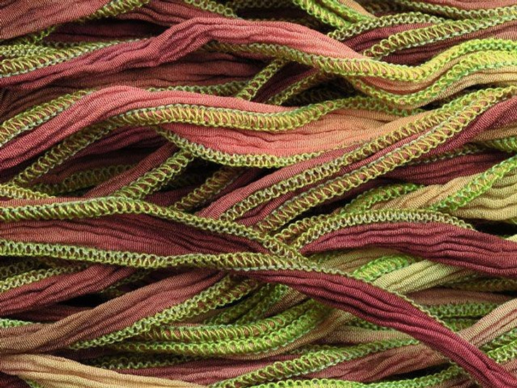 Hand-Dyed Silk Ribbon Raspberry Lime Sorbet (32-36 Inches)