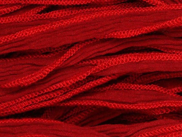Hand-Dyed Silk Ribbon Red (32-36 Inches)