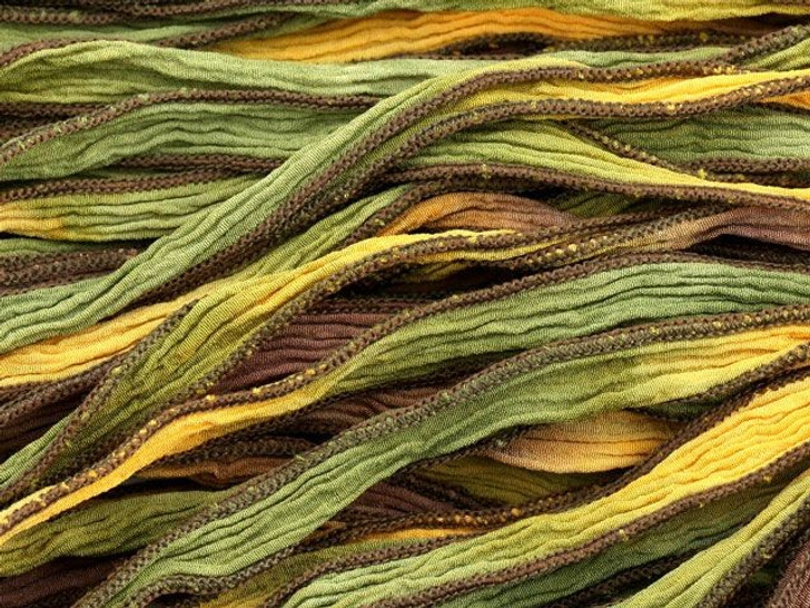 Hand-Dyed Silk Ribbon Sunflower Blend (32-36 Inches)