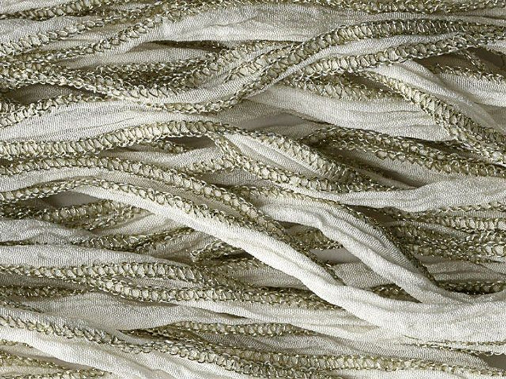 Hand-Dyed Silk Ribbon White with Metallic Gold Edges (32-36 Inches)