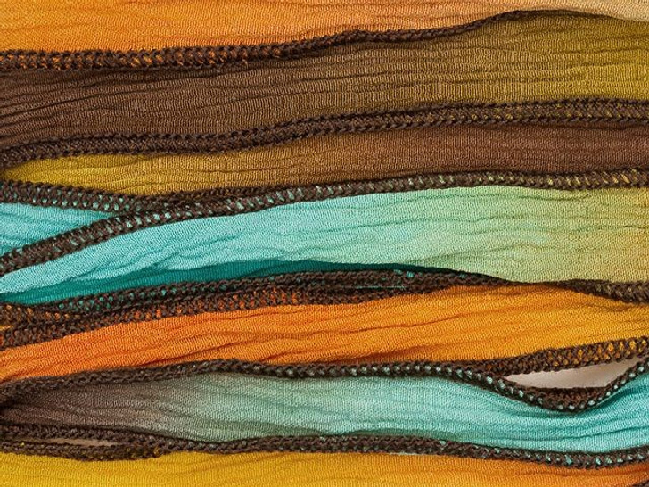 Hand-Dyed Tequila Sunrise Blue-Green, Gold and Orange Silk Ribbon with Brown Edges