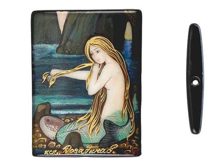 Hand-Painted A Mermaid by John William Waterhouse on Black Agate Rectangle Bead