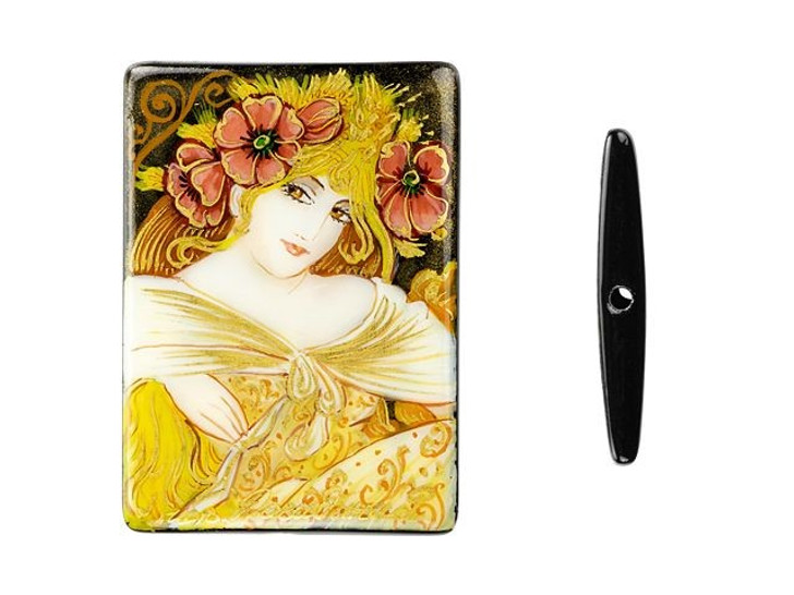 Hand-Painted Biscuits Lefevre Utile by Mucha on Black Agate Rectangle Bead