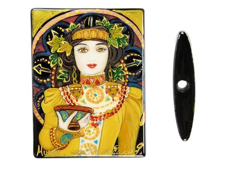 Hand-Painted Cremant Imperial by Mucha on Black Agate Rectangle Bead