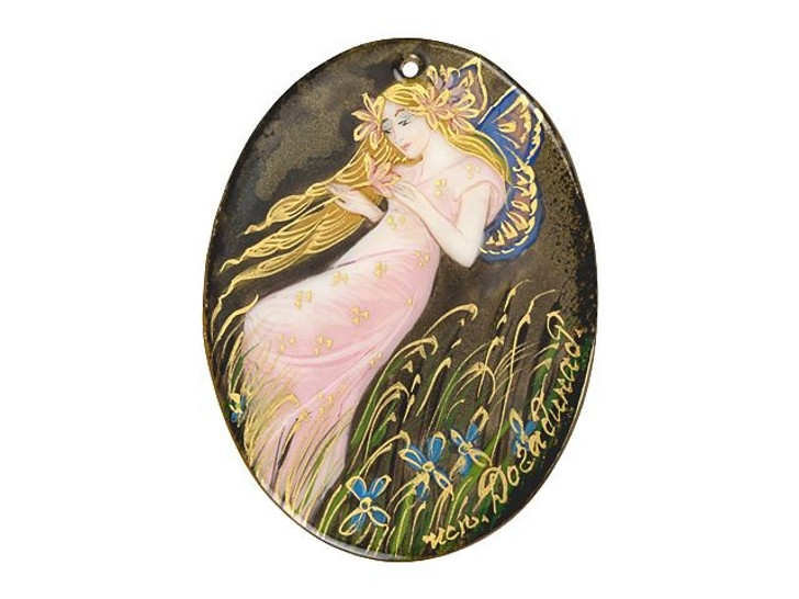 Hand-Painted Elf with Iris by Mucha Mother of Pearl Pendant