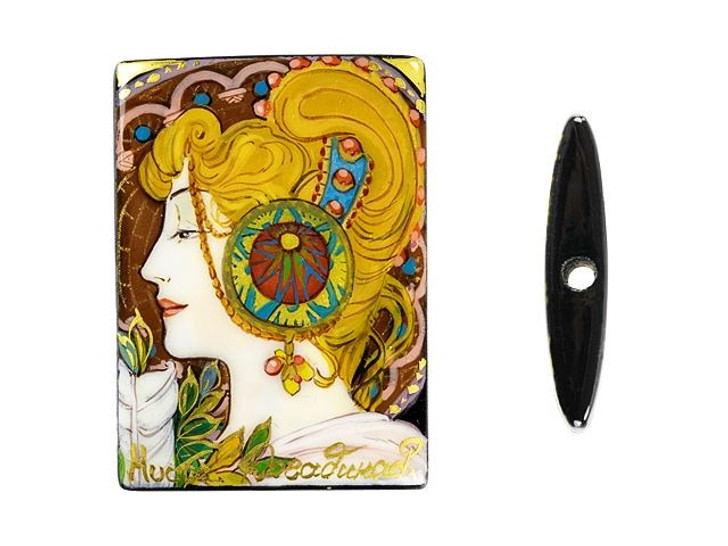 Hand-Painted Feather by Mucha on Black Agate Rectangle Bead