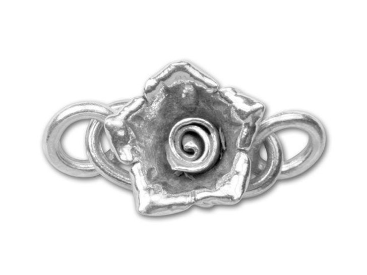 Hill Tribe Silver (Thai Silver) S Clasp With Flower