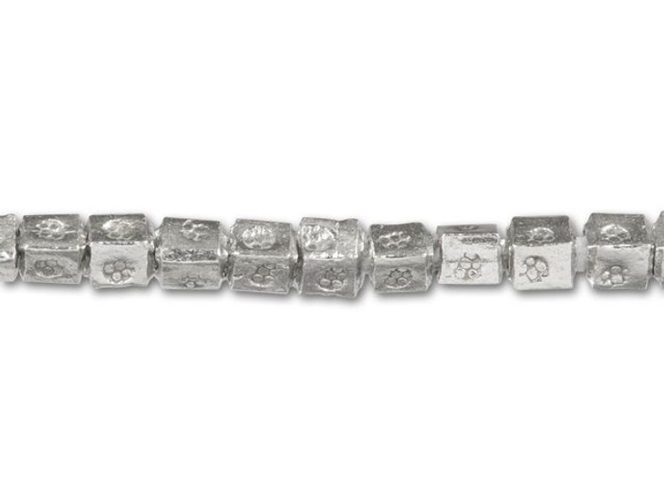 Hill Tribe Silver Fancy Stamped Cube Strand