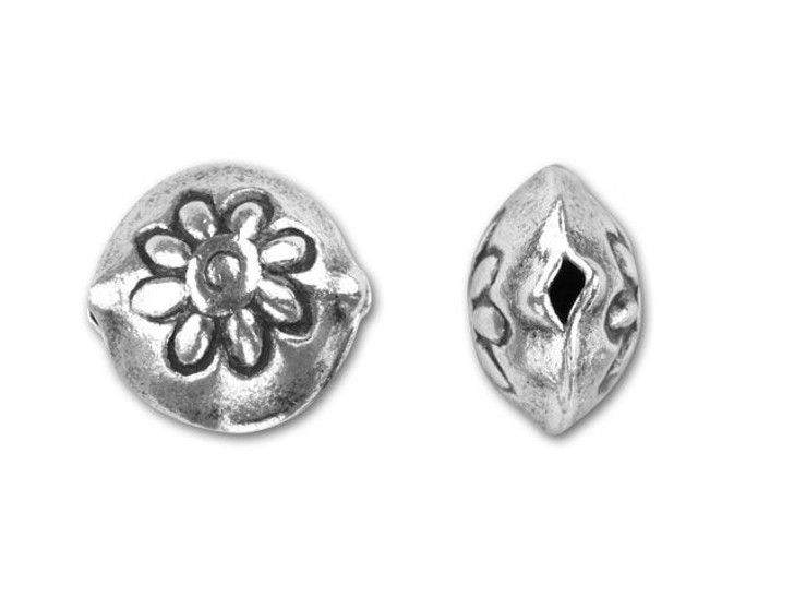 Hill Tribe Silver Flower Disc Bead
