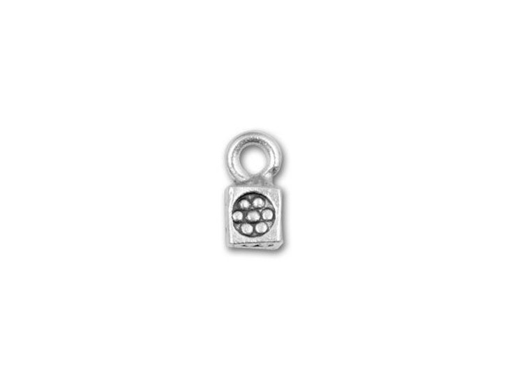Hill Tribe Silver Flower Stamped Cube Drop