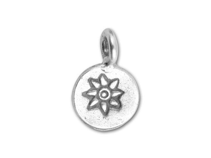 Hill Tribe Silver Flower Stamped Round Drop