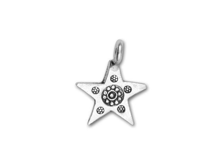 Hill Tribe Silver Flower Stamped Star Drop