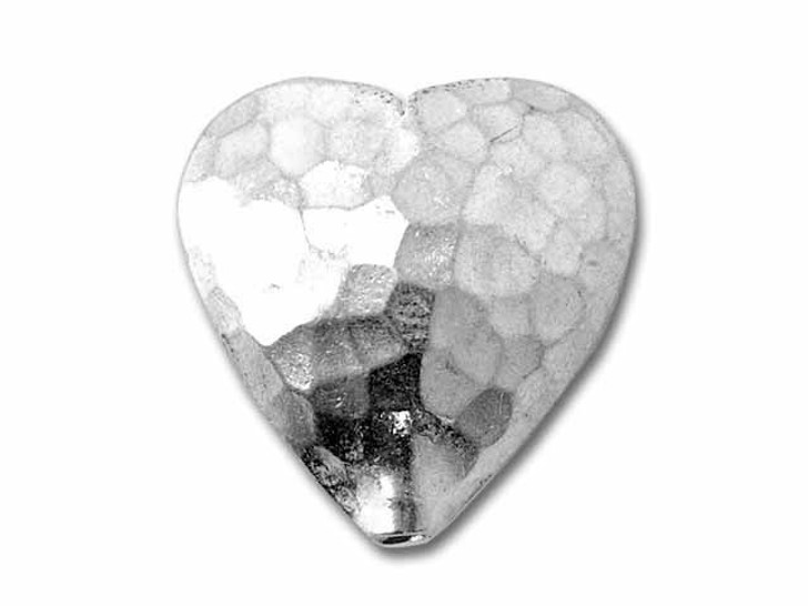 Hill Tribe Silver Hammered Heart Puffed Bead