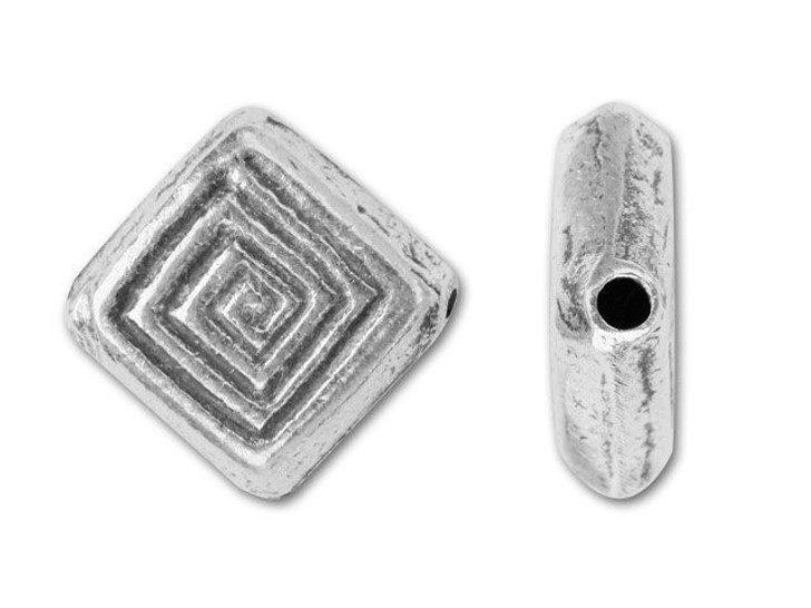 Hill Tribe Silver Hypnotic Square Bead