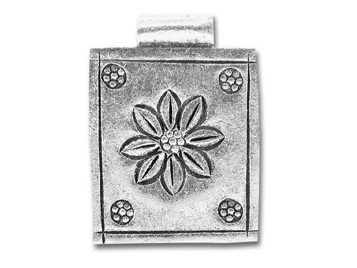 Hill Tribe Silver Large Flower Picture Pendant