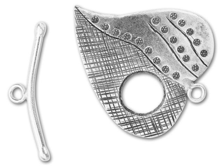 Hill Tribe Silver Large Stamped Ivy Leaf Toggle Clasp