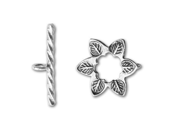 Hill Tribe Silver Leaf Stamped Flower Toggle Clasp