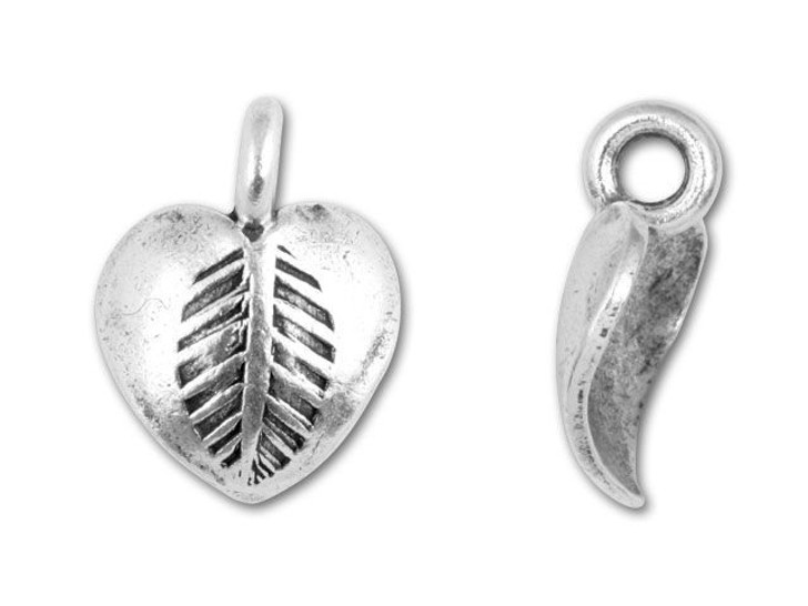 Hill Tribe Silver Leaf Stamped Heart Drop
