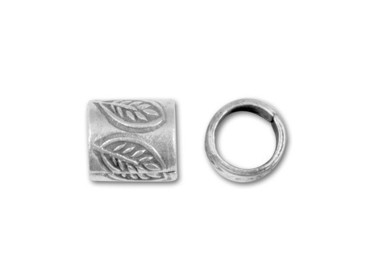 Hill Tribe Silver Leaf Stamped Tube Bead