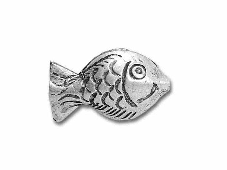 Hill Tribe Silver Puffed Fish Bead