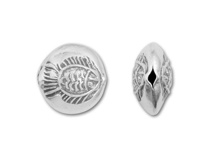 Hill Tribe Silver Stamped Fish Coin Bead