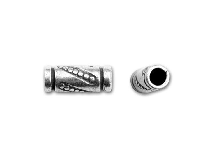 Hill Tribe Silver Tube Bead With Granulations