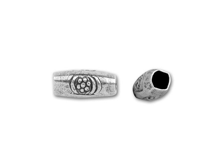 Hill Tribe Silver Tube Bead With Stamped Circles And Flower