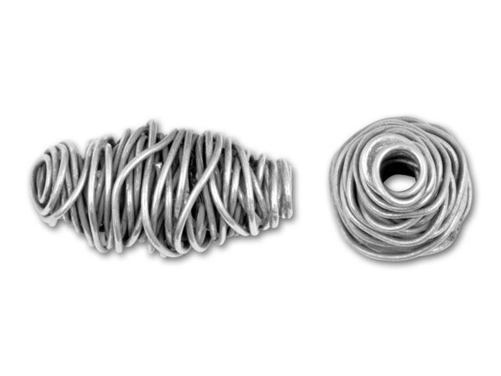 Hill Tribe Silver Wire Coiled Melon Bead