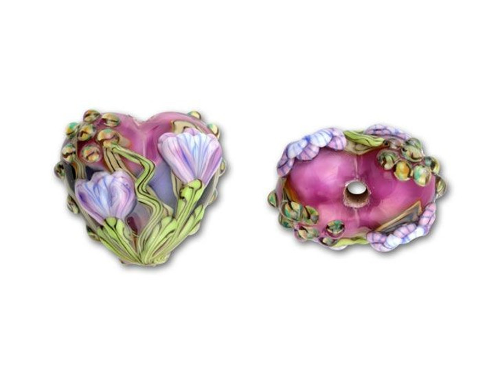Hot Pink and Purple Free Style Heart Bead