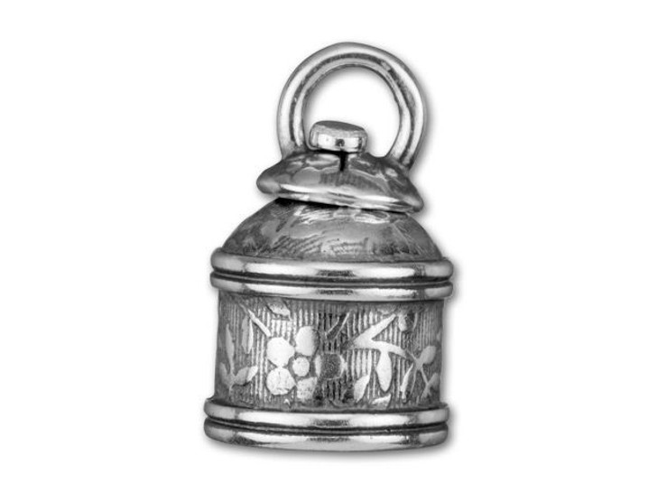 JBB 10mm Antique Silver-Plated Brass Leaves Swivel End Cap