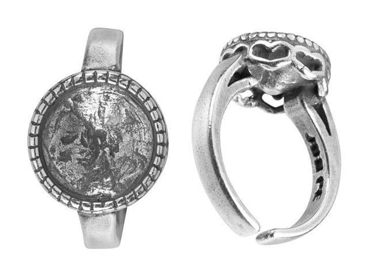 JBB 10mm Antique Silver-Plated Pewter Heart Bezel Adjustable Ring