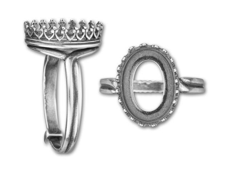 JBB 10x14mm Antique Silver-Plated Brass Oval Crown Bezel Locking Ring