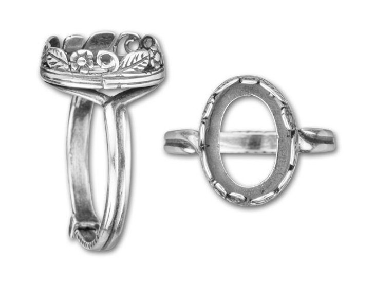 JBB 10x14mm Antique Silver-Plated Brass Oval Flower and Leaves Bezel Locking Ring